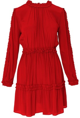 Framboise Elma Red Silk Dress With Ruffles