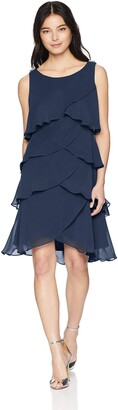 SL Fashions Women's Pull On Jewel-Strap Tiered Cocktail Party Dress (Petite and Regular)