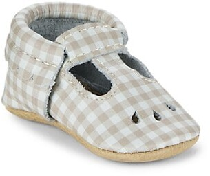 Freshly Picked Baby Girl's Almond Gingham Mini Sole Mary Jane Shoes