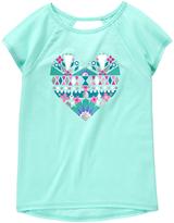 Gymboree Sky Blue Heart Graphic Knit Tee - Girls