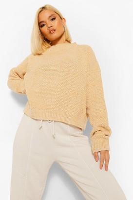 boohoo Petite Waffle Knit Marl Knitted Jumper