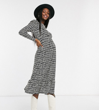 Topshop Maternity tiered midi dress in mono spot print