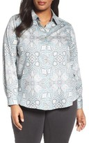 Foxcroft Plus Size Women's Wrinkle Free Paisley Shirt
