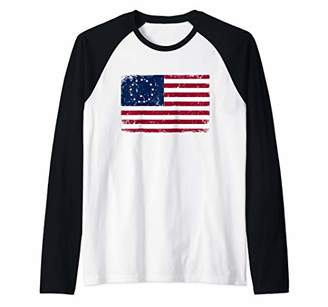 Betsy Ross Flag 4th Of July American USA Patriotic Vintage Raglan Baseball Tee