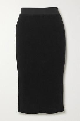 James Perse Ribbed Cotton-blend Midi Skirt - Black