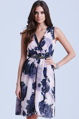 Little Mistress Nude and Navy Floral V Neck Dress