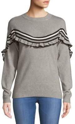 Vero Moda Frill Detail Striped Knit Top