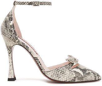 ALEXACHUNG Bow-embellished Snake-effect Leather Pumps