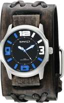 Nemesis Men's 107VDXB-KL /Blue Embossed 3D Series Faded Double X Leather Cuff Band Analog Display Japanese Quartz Watch
