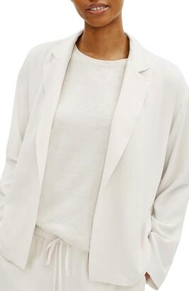 Eileen Fisher Notch Lapel Boxy Crepe Jacket