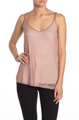 Tart Metallic Knit Asymmetrical Hem Tank Top
