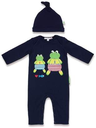 Franny Olive&Moss and Franco Frog-PS2 Onesie for Age 6 to 12 Months Navy Blue