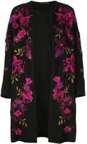Josie Natori floral-embroidered collarless coat