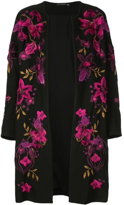 Josie Natori Floral-Embroidered Collarless Coat