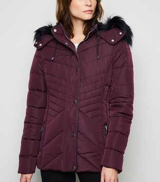 New Look Tall Faux Fur Trim Fitted Puffer Jacket