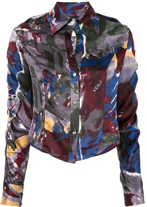 Versace Pre-Owned Printed Cropped Shirt