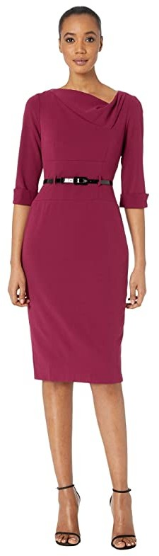 Donna Morgan 3/4 Sleeve Cowl Neck Crepe Midi Dress (Mulberry) Women's Dress