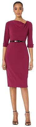 Donna Morgan 3/4 Sleeve Cowl Neck Crepe Midi Dress (Marigold) Women's Dress