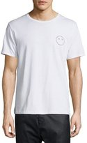 Rag & Bone Face-Embroidered Short-Sleeve Jersey T-Shirt, Bright White