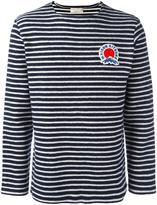MAISON KITSUNÉ striped logo plaque sweater - men - Cotton - XL