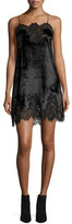 Alice + Olivia Charice Short A-line Lace/Velvet Cocktail Slip Dress