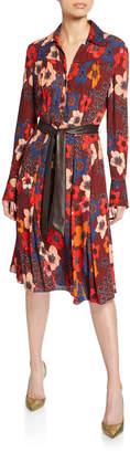 Elie Tahari Brinx Floral Long-Sleeve Dress w/ Faux Leather Belt