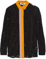 MSGM Crepe-Trimmed Guipure Lace Shirt