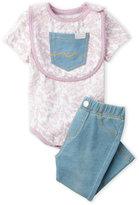 7 For All Mankind Newborn/Infant Girls) 3-Piece Stripe Bodysuit & Knit Denim Pants Set