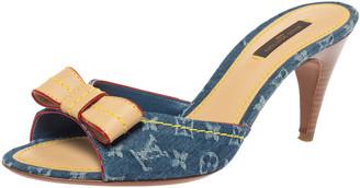 Louis Vuitton Blue Monogram Denim And Leather Bow Slide Sandals Size 38.5