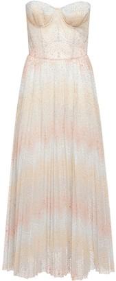 Ermanno Scervino Embroidered Tulle Bustier Midi Dress