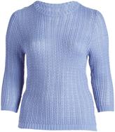Denim Three-Quarter Sleeve Sweater - Plus