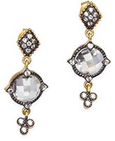 Freida Rothman Women's 14ct Gold Plated Sterling Silver Small Mirror Stone Drop Earrings