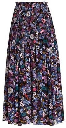 Tanya Taylor Nicolette Smocked Floral Silk Midi Skirt