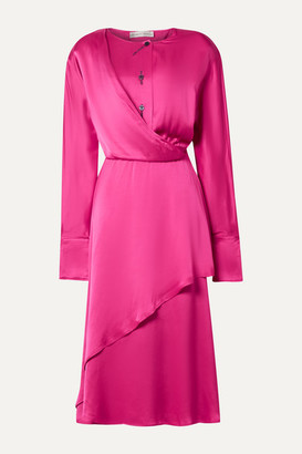 Palmer Harding Mirror Wrap-effect Draped Satin Midi Dress - Fuchsia