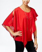 Amy Byer Juniors' Asymmetrical Popover Top