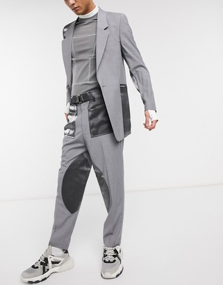 Asos Design DESIGN tapered suit trousers with cut and sew satin panels-Grey