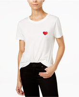 Carbon Copy Cotton Heart Embroidered T-Shirt