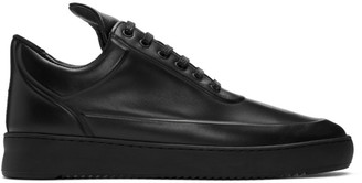 Filling Pieces Black Ripple Embossed Low Top Sneakers