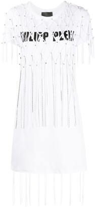 Philipp Plein Moana Fringe T-Shirt dress
