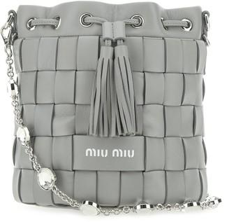Miu Miu Crystal Chain Woven Bucket Bag