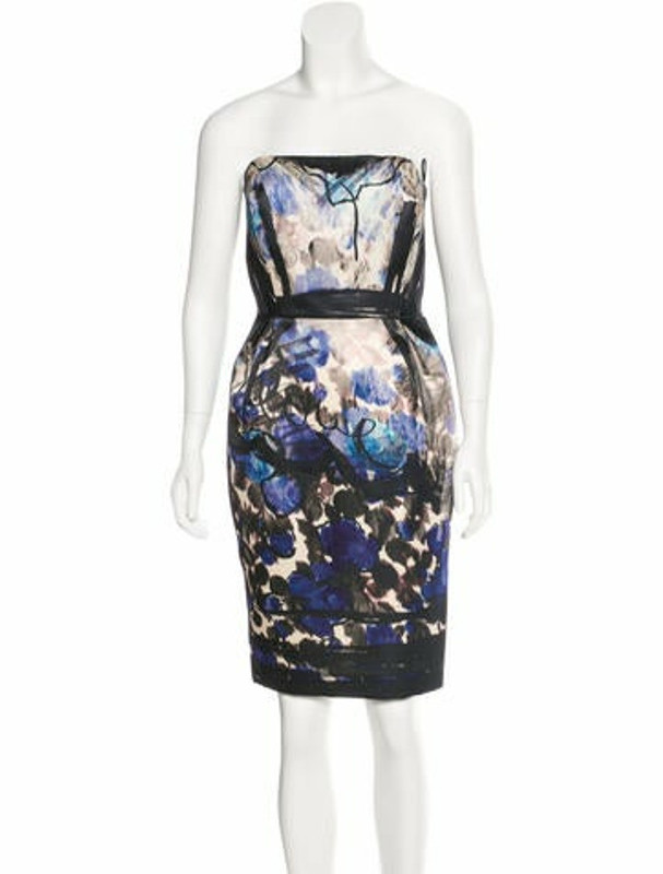 Lanvin Printed Strapless Dress Black