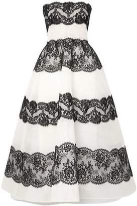 Monique Lhuillier Lace-paneled Point D'esprit Tulle Gown