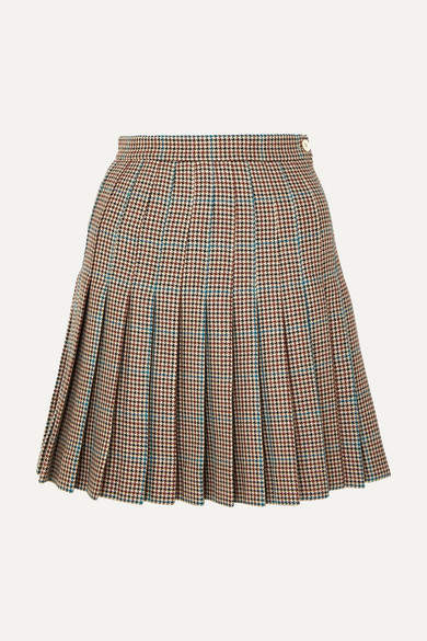 Off-White Pleated Checked Wool Mini Skirt - Brown