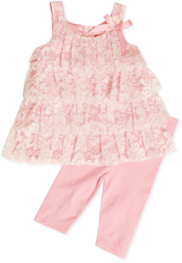 Bonnie Baby Set, Baby Girls White Lace Pink Trim Top and Capri Leggings Set