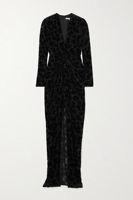 Veronica Beard Ruthie Twist-front Flocked Chiffon Maxi Dress - Black