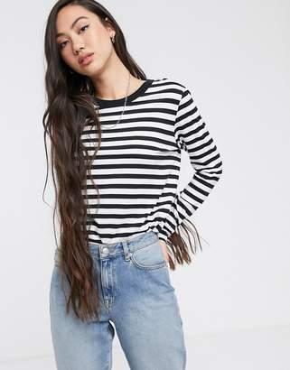 Selected long sleeve stripe tee-Black