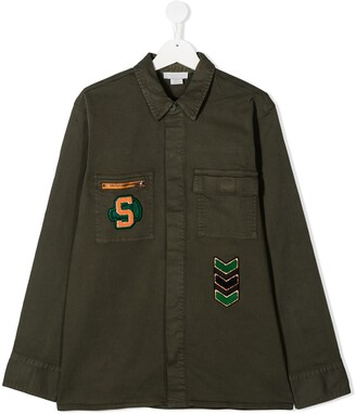 Stella Mccartney Kids TEEN logo patch jacket