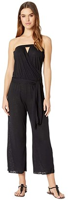 Becca by Rebecca Virtue Breezy Basics Cropped Jumpsuit Cover-Up (Black) Women's Swimsuits One Piece