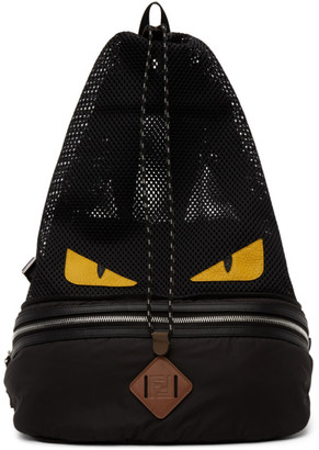 Fendi Black and Yellow Bag Bugs Convertible Backpack