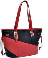 Dasein Red & Black Color-Contrast Tote